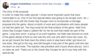 Green Bay Escape, A Great Place To Propose!
